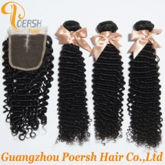 6A Brazilian Hair 1B Natural Black Color Curly Wave Remy Hair Weft 3Pcs With Middle Part 4×4 Lace Closure