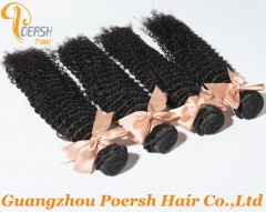 Poersh Hair 22-30inch 4Pcs/Lot 6A Brazilian Hair 1B Natural Black Color Curly Wave Remy Human Hair Weft