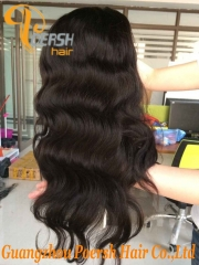 8A 1B Natural Black Color Body Wave Unprocessed Raw Virgin Human Hair Lace Front Wig