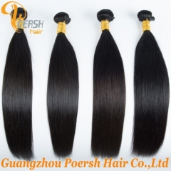 Poersh Hair 22-30inch 4Pcs/Lot 6A Brazilian Hair 1B Natural Black Color Straight Hair Remy Human Hair Weft