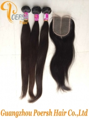 6A Brazilian Hair 1B Natural Black Color Straight Hair Remy Hair Weft 3Pcs With Middle Part 4×4 Lace Closure