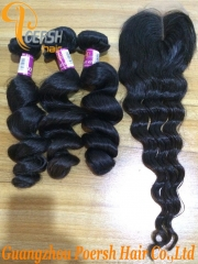 8A Top Quality Unprocessed Virgin Hair 1B Natural Black Color Loose Wave Hair Weft 3Pcs With 4×4 Lace Closure