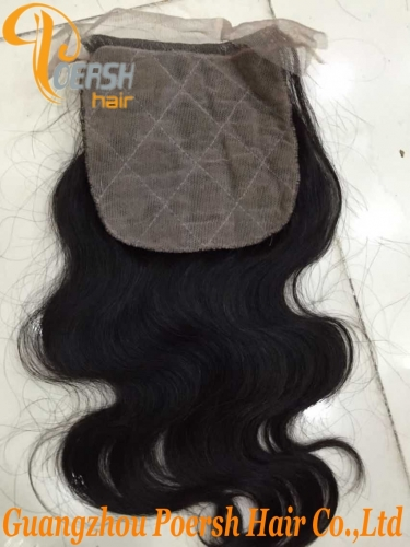 8A Top Quanlity 1B Natural Black Color Body Wave 100% Unprocessed Raw Virgin Human Hair 4×4 Silk Base Closure