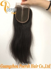 8A Top Quality 1B Natural Black Color Straight Hair 100% Unprocessed Virgin Human Hair Middle Part 4×4 Lace Closure