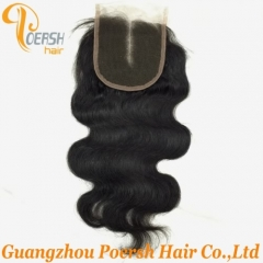 8A Top Quality 1B Natural Black Color Body Wave 100% Unprocessed Virgin Human Hair Middle Part 4×4 Lace Closure