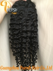 8A 1B Natural Black Color Deep Wave Unprocessed Raw Virgin Human Hair Full Lace Wig