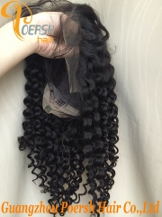 8A 1B Natural Black Color Deep Wave Unprocessed Raw Virgin Human Hair Lace Front Wig