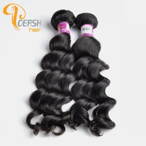 Poersh Hair Top Grade Unprocessed Raw Virgin Hair Top Quality 1B Natural Black Color Big Deep Wave 2Pcs/Lot Human Hair Weft