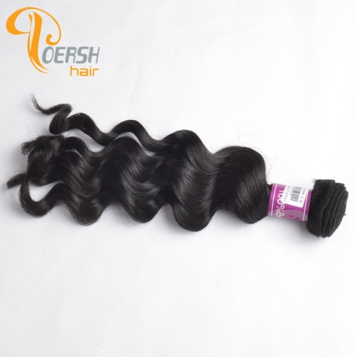 Poersh Hair Diamond Grade Unprocessed Raw Virgin Hair Top Quality 1B Natural Black Color Big Deep Wave 1Pc/Lot Human Hair Weft