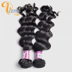 Poersh Hair 8A Unprocessed Raw Virgin Hair Top Quality 1B Natural Black Color Big Deep Wave 2Pcs/Lot Human Hair Weft