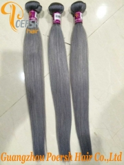 Poersh Hair 14-24inch 7A Uprocessed Virgin Hair High Quality Gray Color Straight Hair 4Pcs/Lot Human Hair Weft