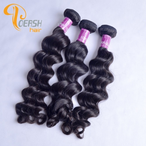 Poersh Hair 8A Unprocessed Raw Virgin Hair Top Quality 1B Natural Black Color Big Deep Wave 3Pcs/Lot Human Hair Weft