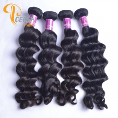 Poersh Hair 8A Uprocessed Raw Virgin Hair Top Quality 1B Natural Black Color Big Deep Wave 4Pcs/Lot Human Hair Weft