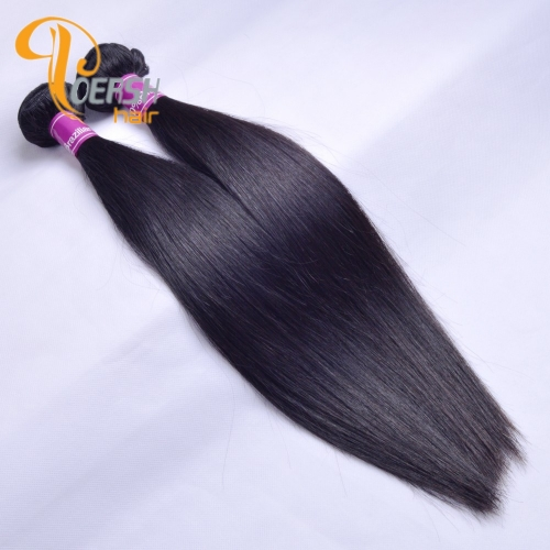 Poersh Hair Top Grade Unprocessed Raw Virgin Hair Top Quality 1B Natural Black Color Straight Hair 2Pcs/Lot Human Hair Weft