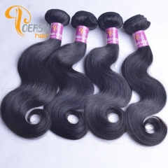 Poersh Hair 8A Uprocessed Raw Virgin Hair Top Quality 1B Natural Black Color Body Wave 4Pcs/Lot Human Hair Weft