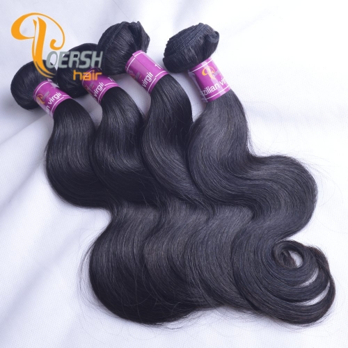 Poersh Hair Top Grade Uprocessed Raw Virgin Hair Top Quality 1B Natural Black Color Body Wave 4Pcs/Lot Human Hair Weft