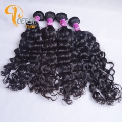 Poersh Hair Diamond Grade Uprocessed Virgin Hair Top Quality 1B Natural Black Color Italy Curly 4Pcs/Lot Human Hair Weft
