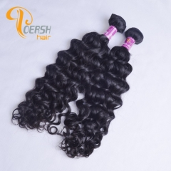 Poersh Hair Diamond Grade Unprocessed Virgin Hair Top Quality 1B Natural Black Color Italy Curly 2Pcs/Lot Human Hair Weft