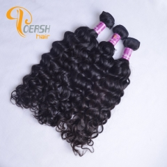 Poersh Hair 8A Unprocessed Raw Virgin Hair Top Quality 1B Natural Black Color Italy Curly 3Pcs/Lot Human Hair Weft