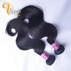 Poersh Hair Top Grade Unprocessed Raw Virgin Hair Top Quality 1B Natural Black Color Body Wave 2Pcs/Lot Human Hair Weft
