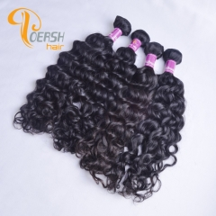 Poersh Hair Top Grade Uprocessed Virgin Hair Top Quality 1B Natural Black Color Italy Curly 4Pcs/Lot Human Hair Weft