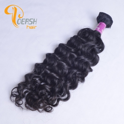 Poersh Hair Top Grade Unprocessed Raw Virgin Hair Top Quality 1B Natural Black Color Italy Curly 1Pc/Lot Human Hair Weft