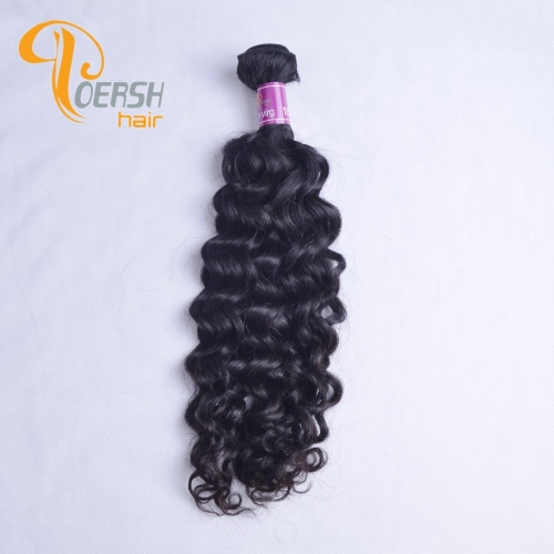Poersh Hair 8A Unprocessed Raw Virgin Hair Top Quality 1B Natural Black Color Italy Curly 1Pc/Lot Human Hair Weft
