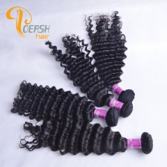 Poersh Hair Top Grade Uprocessed Virgin Hair Top Quality 1B Natural Black Color Deep Wave 4Pcs/Lot Human Hair Weft
