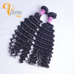 Poersh Hair Top Grade Unprocessed Virgin Hair Top Quality 1B Natural Black Color Deep Wave 2Pcs/Lot Human Hair Weft