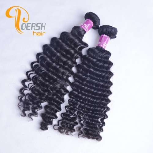 Poersh Hair Top Grade Unprocessed Raw Virgin Hair Top Quality 1B Natural Black Color Deep Wave 2Pcs/Lot Human Hair Weft