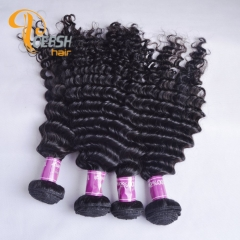 Poersh Hair Diamond Grade Uprocessed Virgin Hair Top Quality 1B Natural Black Color Deep Wave 4Pcs/Lot Human Hair Weft