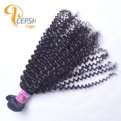 Poersh Hair Diamond Grade Unprocessed Virgin Hair Top Quality 1B Natural Black Color Curly Wave 1Pc/Lot Human Hair Weft