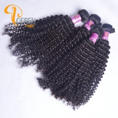 Poersh Hair Diamond Grade Uprocessed Virgin Hair Top Quality 1B Natural Black Color Curly Wave 4Pcs/Lot Human Hair Weft