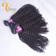 Poersh Hair Top Grade Uprocessed Virgin Hair Top Quality 1B Natural Black Color Curly Wave 4Pcs/Lot Human Hair Weft