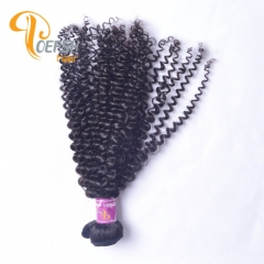 Poersh Hair Top Grade Unprocessed Virgin Hair Top Quality 1B Natural Black Color Curly Wave 1Pc/Lot Human Hair Weft