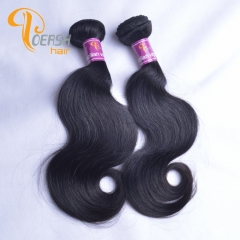 Poersh Hair 7A Virgin Remy Hair High Quality 1B Natural Black Color Body Wave 2Pcs/Lot Human Hair Weft