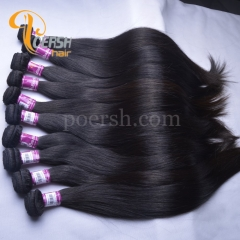 Poersh Hair 10-28inch 8A Unprocessed Virgin Hair Top Quality 1B Natural Black Color Straight Hair 10Pcs/Lot Human Hair Weft