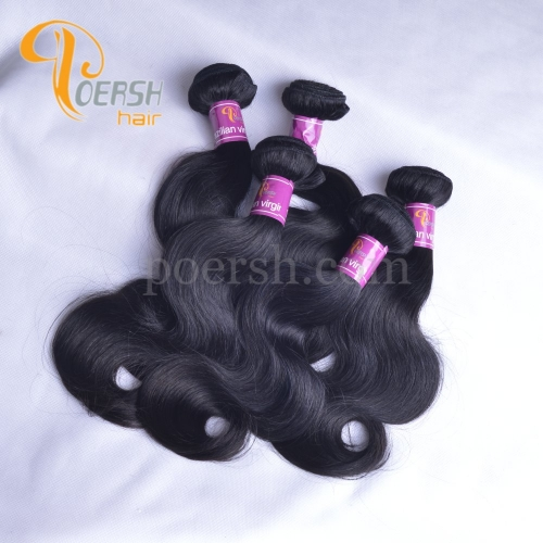 Poersh Hair 8A Unprocessed Raw Virgin Hair Top Quality 1B Natural Black Color Body Wave 10Pcs/Lot Human Hair Weft