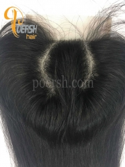 7A 1B Natural Black Color Straight Hair 100% Human Hair C-Part 4×4 Lace Closure