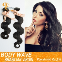Clearance Big Sale Poersh Hair 12/18/22-24inch 6A Remy Hair 1B Natural Black Color Body Wave 2Pcs/Lot Human Hair Weft