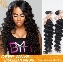 Clearance Big Sale Poersh Hair 14/24inch 6A Remy Hair 1B Natural Black Color Deep Wave 2Pcs/Lot Human Hair Weft