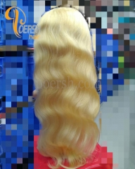 8A 613# Blonde Color Body Wave Unprocessed Raw Virgin Human Hair Lace Front Wig