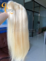 8A 613# Blonde Color Straight Hair Unprocessed Raw Virgin Human Hair Lace Front Wig