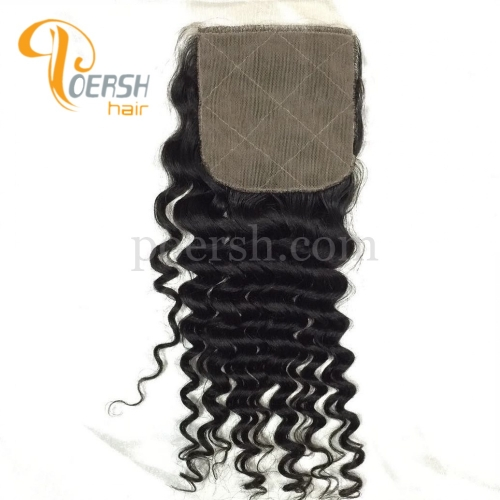 8A Top Quanlity 1B Natural Black Color Deep Wave 100% Unprocessed Raw Virgin Human Hair 4×4 Silk Base Closure