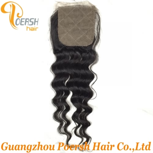 8A Top Quanlity 1B Natural Black Color Big Deep Wave 100% Unprocessed Raw Virgin Human Hair 4×4 Silk Base Closure