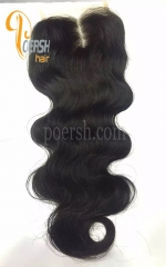 7A 1B Natural Black Color Body Wave 100% Human Hair Middle Part 4×4 Lace Closure