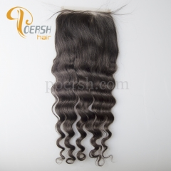 8A Top Quality 1B Natural Color Big Deep Wave 100% Unprocessed Virgin Human Hair 5×5 Medium Brown Lace Closure