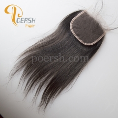 8A Top Quality 1B Natural Color Straight Hair 100% Unprocessed Virgin Human Hair 4×4 NS Thinnest Swiss Lace Closure
