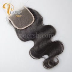 8A Top Quality 1B Natural Color Body Wave 100% Unprocessed Virgin Human Hair 4×4 NS Thinnest Swiss Lace Closure